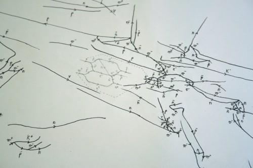 quantique, physique, lignes, équations, interactions, particules